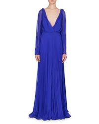 Long sleeve plunging neck gown cobalt blue medium 651857
