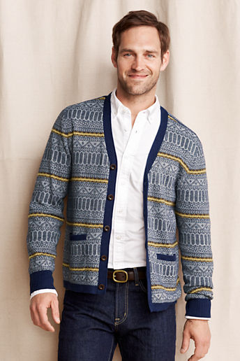 Lands' End Reverse Fair Isle Fine Gauge Cardigan | Where to buy ...