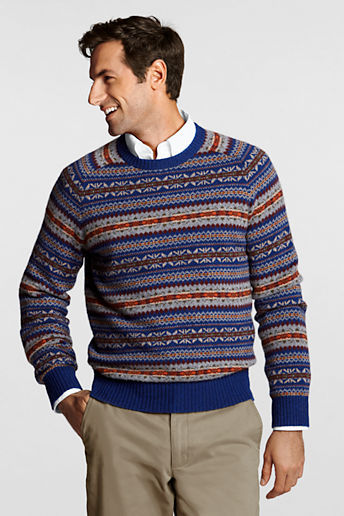 Lands' End Regular Shorewood Fair Isle Crew Sweater | Where to buy ...