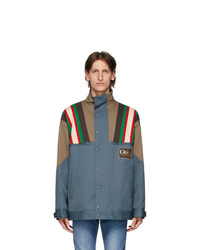 Gucci Blue And Brown Drill 70s Jacket