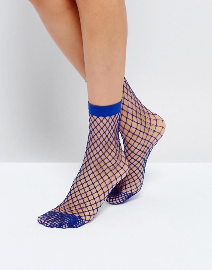 b0e12212f19c0 Asos Oversized Fishnet Ankle Socks In Blue, $6 | Asos | Lookastic.com