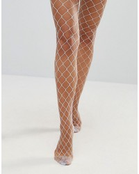 Asos Oversized Fishnet Tights In Light Blue