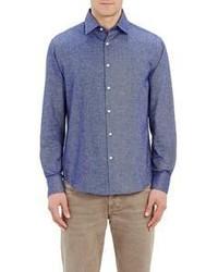 Mason S S Flannel Shirt Blue Size M