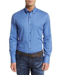 Neiman Marcus Solid Flannel Sport Shirt Blue
