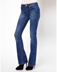 Asos Lennox Kick Flare Jeans In Mid Stonewash