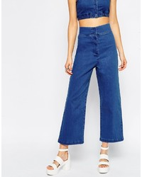 Asos Collection Denim High Waisted Palazzo Pant Co Ord