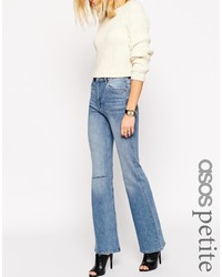 Asos Collection Petite Slim Mom Flared Jeans In Vintage Wash With Displaced Ripped Knees