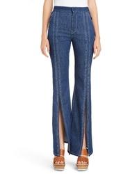 Chloé Contrast Stitch Split Hem Flare Jeans