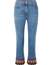 Etro Cropped Embroidered High Rise Flared Jeans