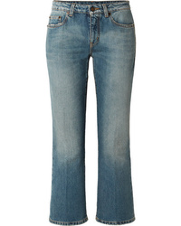 Saint Laurent Cropped Mid Rise Flared Jeans