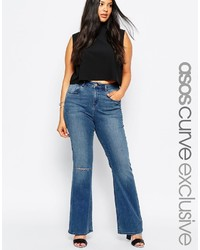 Asos Curve Baby Kick Flare Jean In Haggerston London Blue
