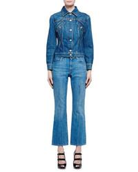 Alexander McQueen Flare Leg Cropped Jeans Indigo