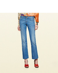 Gucci Washed Denim Skinny Flare Pant