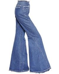 Esteban Cortazar High Waist Flared Cotton Denim Jeans