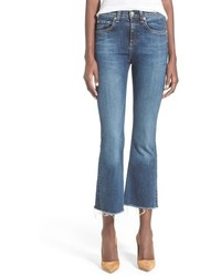 Rag & Bone Jean High Rise Raw Edge Crop Flare Jeans