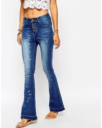 Asos Liquor N Poker Liquor Poker High Rise Skinny Flares With Open Button Detail Distressing