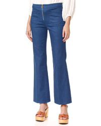 Tory Burch Luisa Zip Front Flare Jeans
