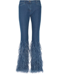Michael Kors Michl Kors Collection Feather Trimmed Mid Rise Flared Jeans Mid Denim