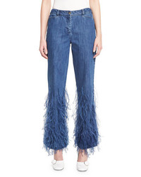 Michael Kors Michl Kors Ostrich Feather Flared Ankle Jeans Indigo