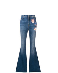Dolce & Gabbana Patched Boot Cut Jeans