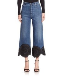 Stella McCartney Scalloped Hem High Rise Kick Flare Jeans