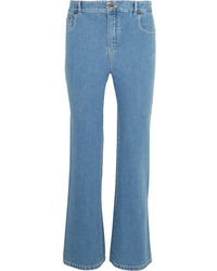 Chloé Scalloped High Rise Flared Jeans Mid Denim