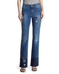 RED Valentino Star Frayed Bootcut Jeans