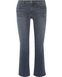 Current/Elliott The Kick Cropped Mid Rise Flared Jeans Dark Denim