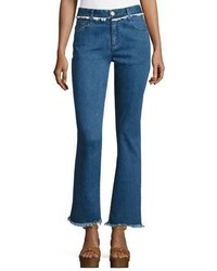 See by Chloe Frayed Hem Flared Denim Trousers Indigo