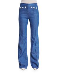 Derek Lam High Waist Flare Leg Denim Pants Bright Blue