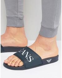 Armani Jeans Logo Slider Flip Flops In Navy