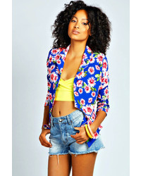 Boohoo ruby neon daisy print blazer medium 117086