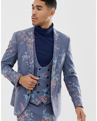 ASOS DESIGN Skinny Suit Jacket In Printed Blue Floral Wool Mix