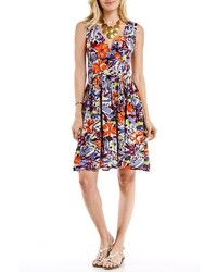 Blue Plate Blue Orange Floral Surplice Dress