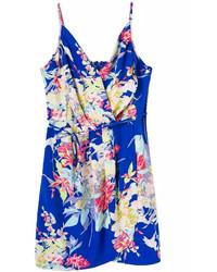 Blue Spaghetti Strap Floral Bodycon Dress