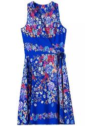 Blue V Neck Sleeveless Floral Knotted Dress