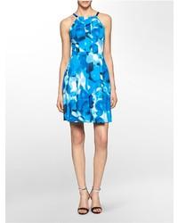 Calvin Klein Floral Print Halter Fit Flare Dress