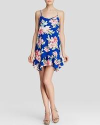 Aqua Dress Floral Print Flounce