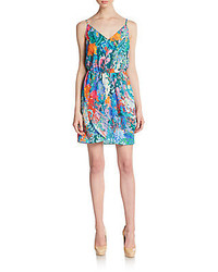 Floral print chiffon crossover hem dress medium 268732
