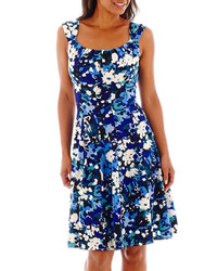 London style collection sleeveless floral print fit and flare dress medium 268703