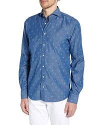 Emanuel Berg Regular Fit Floral Medallion Button Up Shirt