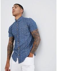 Soul Star Short Sleeve Floral Chambray Shirt