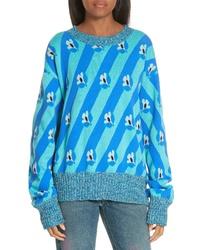 MM6 MAISON MARGIELA Floral Stripe Jacquard Sweater