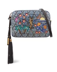 Saint Laurent Lou Med Embroidered Quilted Denim Shoulder Bag