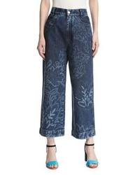 Peter Pilotto Floral Wide Leg Culotte Jeans Navy