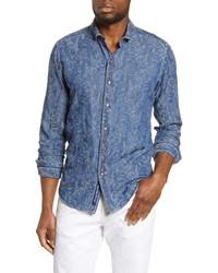 Robert Graham Waynes Rose Jacquard Slim Fit Denim Button Up Shirt