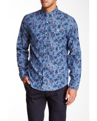 Blue Floral Dress Shirt