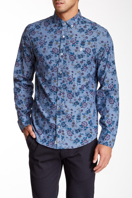 Original Penguin Floral Print Long Sleeve Shirt | Where to buy ...