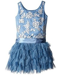 Biscotti Little Girls Filigree Flutter Dropwaist Dress