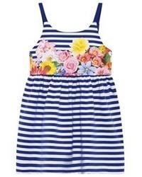 Mayoral Blue Stripe Floral Dress